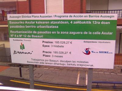 Reurbanización de pasadizo en la zona zaguera de la calle Axular