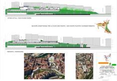 Sección longitudinal de la plaza San Fausto con estado actual y nueva propuesta en formato A0